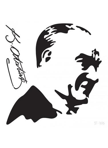 Artikel Atatürk -1 Stencil Tasarımı 30 x 30 cm , Boyama Şablonu Renkli